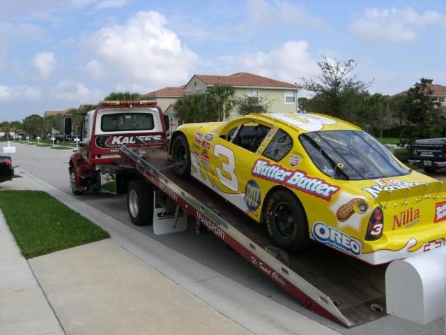 Kauff's truck transporting race car