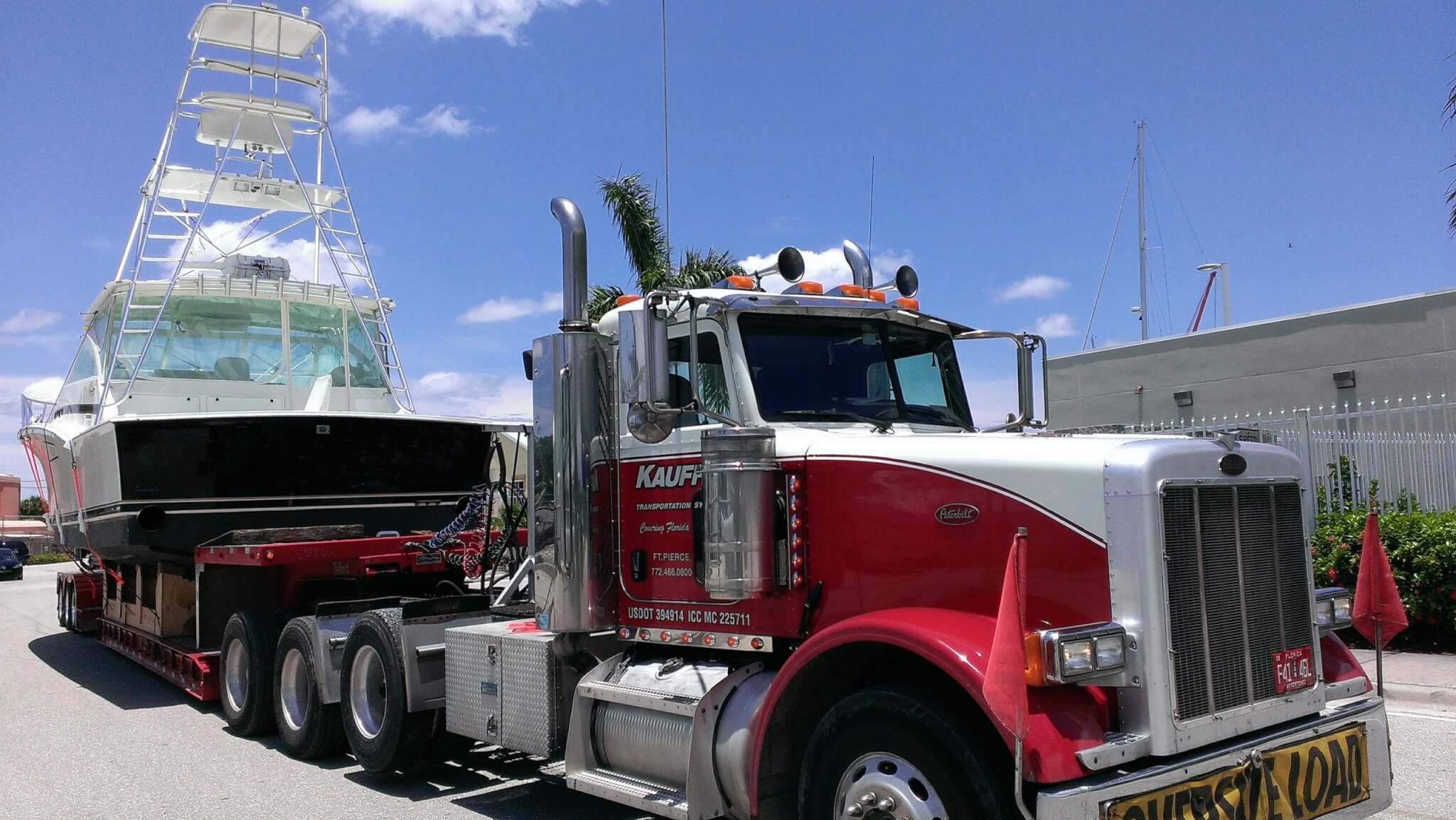 Kauff's Truck transporting Fishing Boat