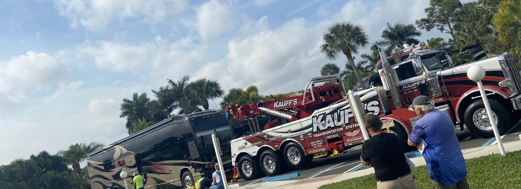 Kauff's heavy-duty tow truck lifting motor coach