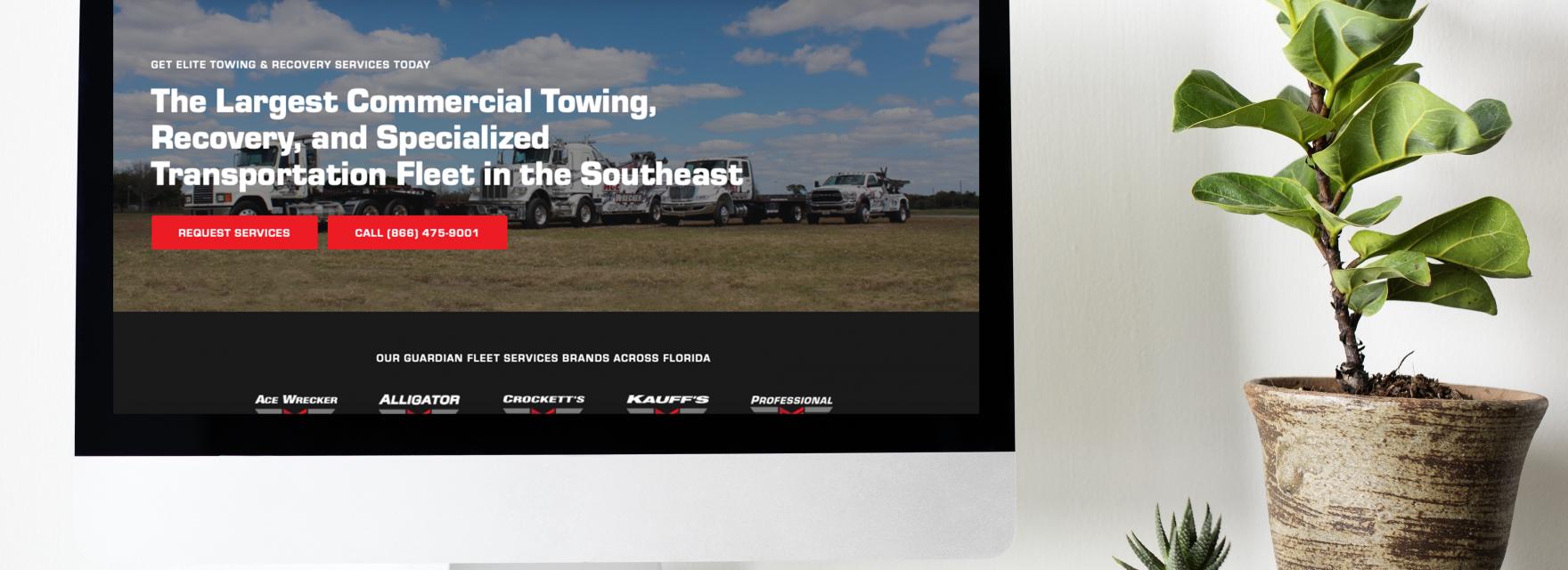 Computer displaying new Guardian Fleet Services website